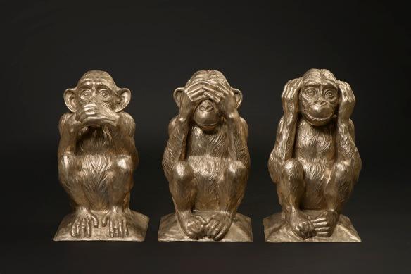 Singes de la sagesse, Bronze non patiné,commande particulière no. 1/1 2014 , Andrée Marcoux