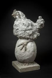 VENDU«L'oeuf ou la poule» Ciment 1 de 1H 64,8 cm