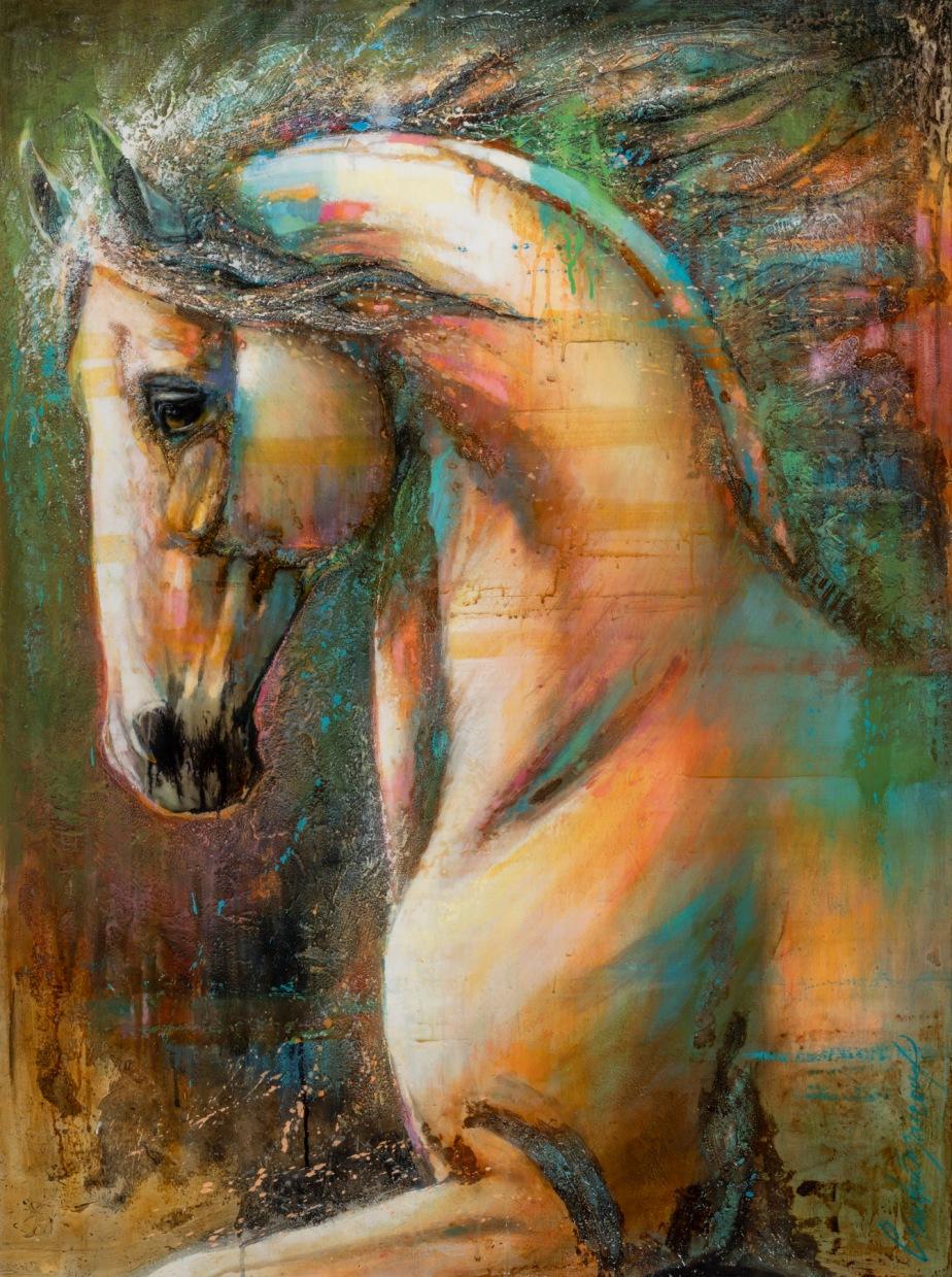 Fougue et tendresse_Acrylique sur panneau_48 x 36 p. Andrée Marcoux